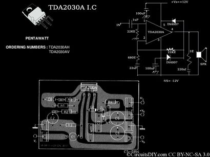 TDA2030A Amplifier Circuit used in home theaters