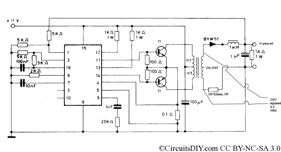 Watt Low Cost PWM Inverter Circuit Circuits DIY - Circuit diagram of an inverter