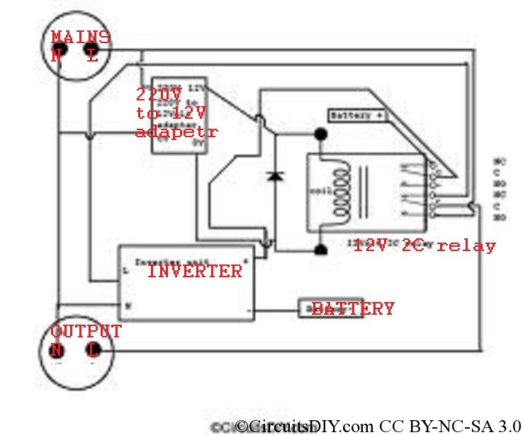 Automatic Inverter and Mains Supply Changeover Circuit automatic inverter and mains supply changeover circuit circuits diy changeover relay wiring diagram at soozxer.org