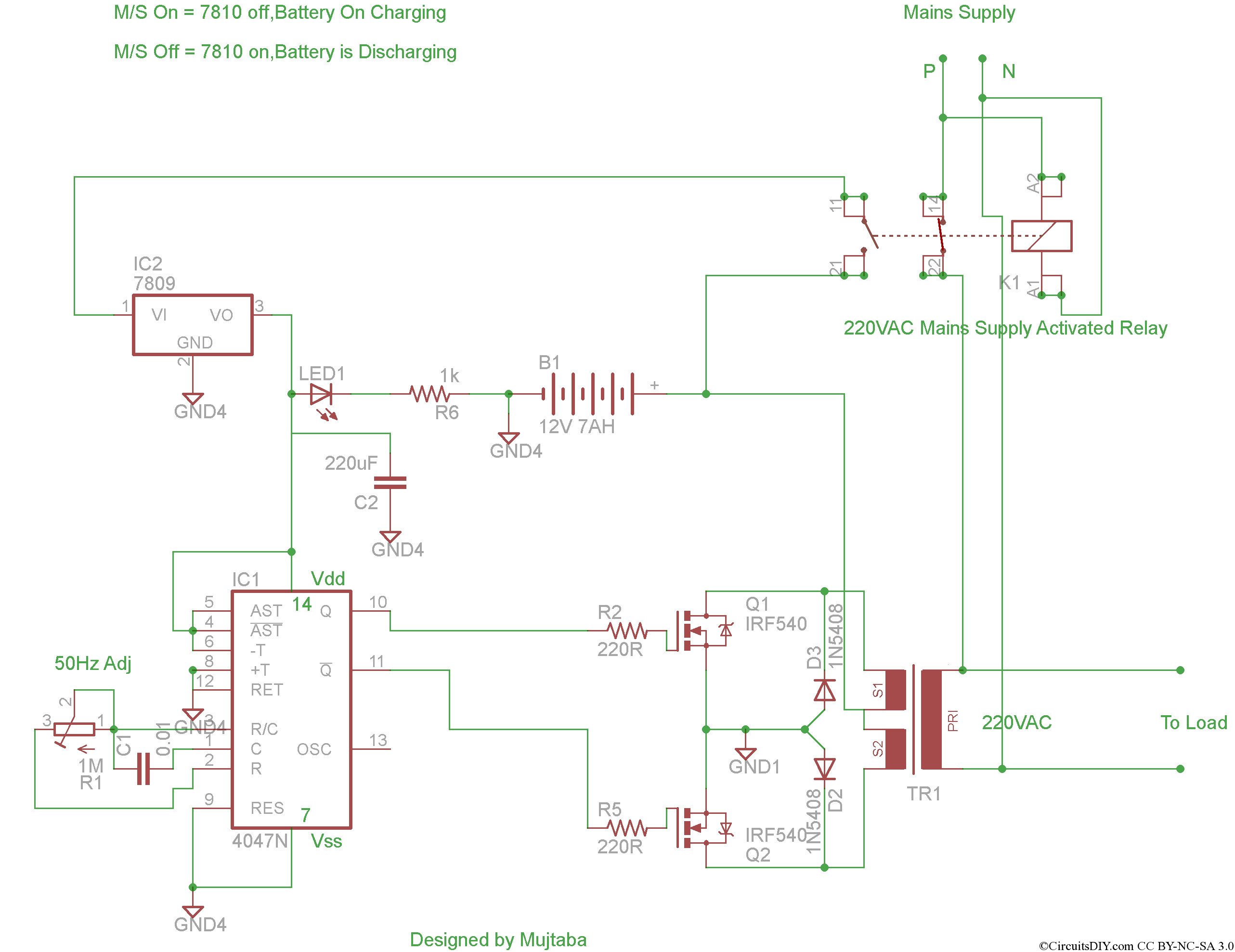 A Complete Inverter Project Circuits DIY - Circuit diagram of an inverter