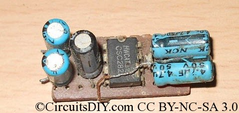 Miniature USB powered amplifier circuit for Laptops