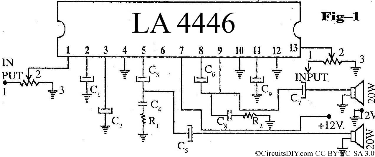 high performance la4446 stereo audio amplifier circuit