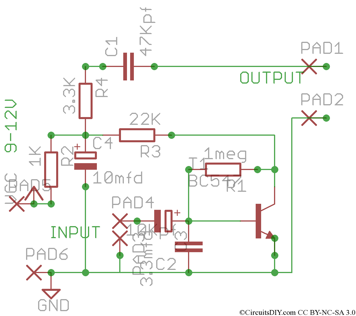 Simple Preamplifier for microphones, tape heads, etc