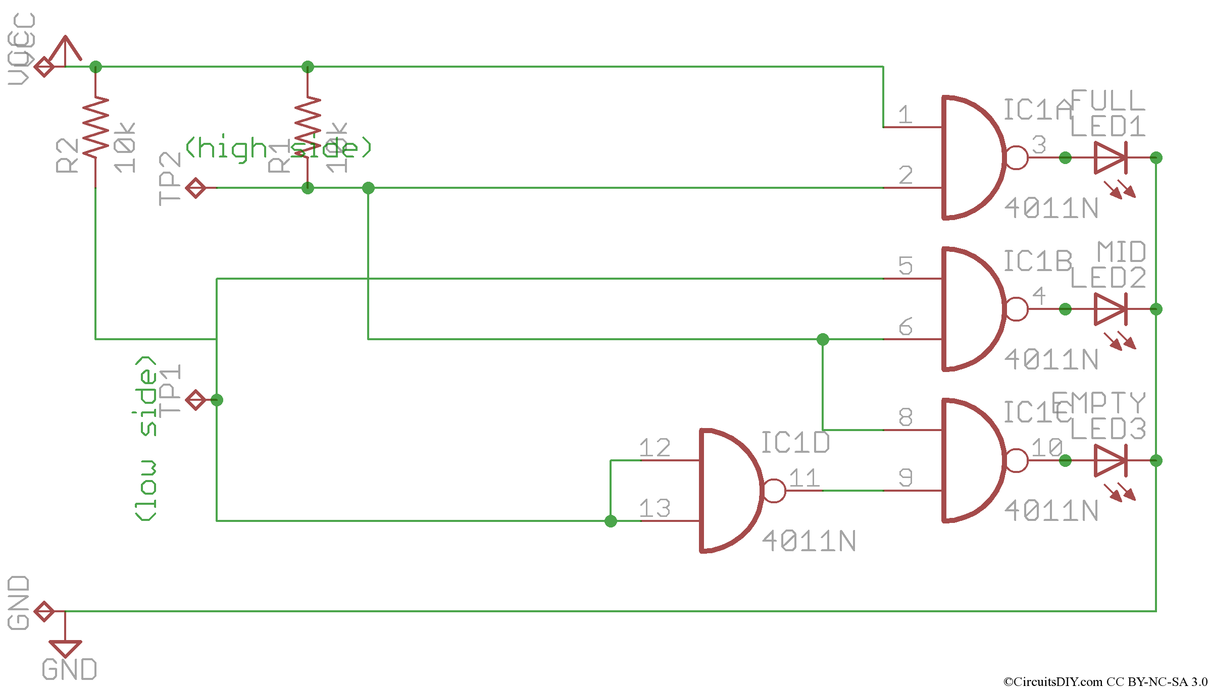 simple water level indicator circuit using logic ic