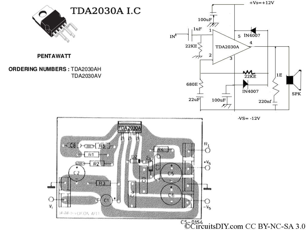 Tda2030a Amplifier Circuit Used In Home Theaters Circuits Diy 1channel Amp Wiring Diagram