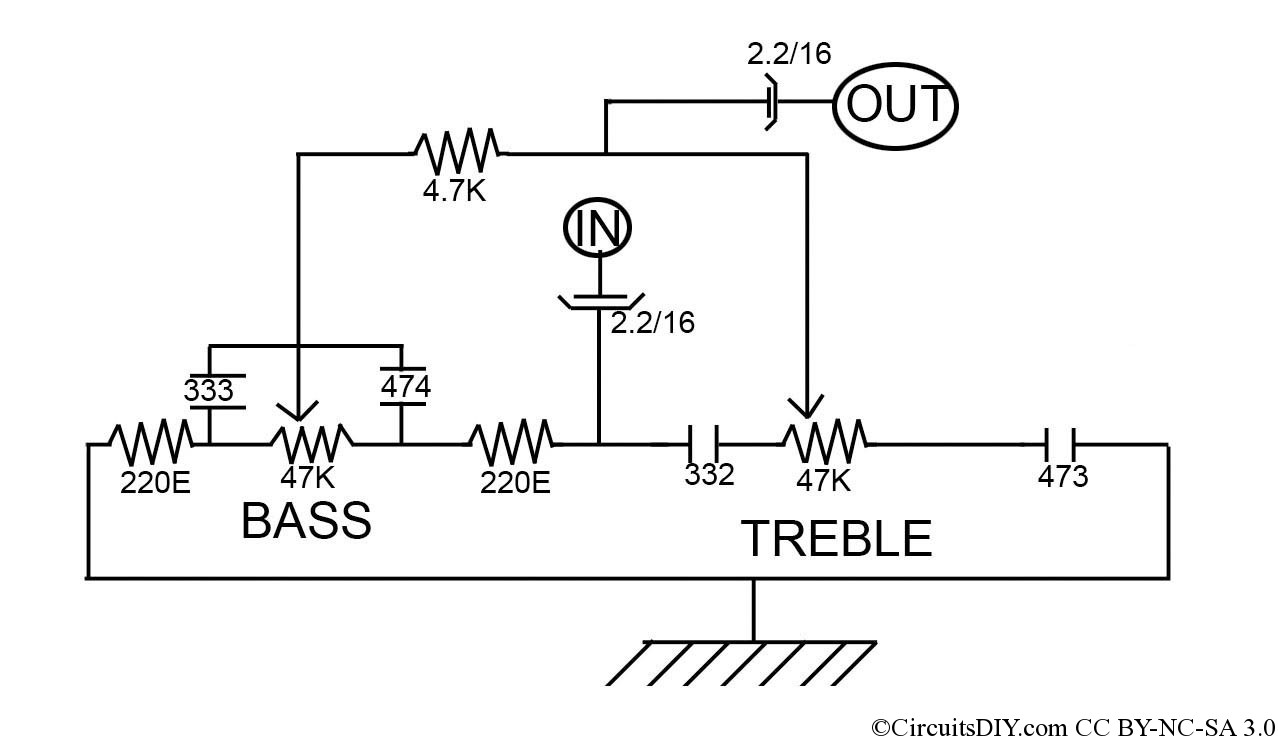 transistor wiring diagram bass treble control without any ic  transistor     circuits diy  bass treble control without any ic