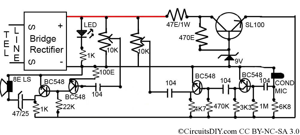 easy loudspeaker circuit for telephone  u2013 circuits diy