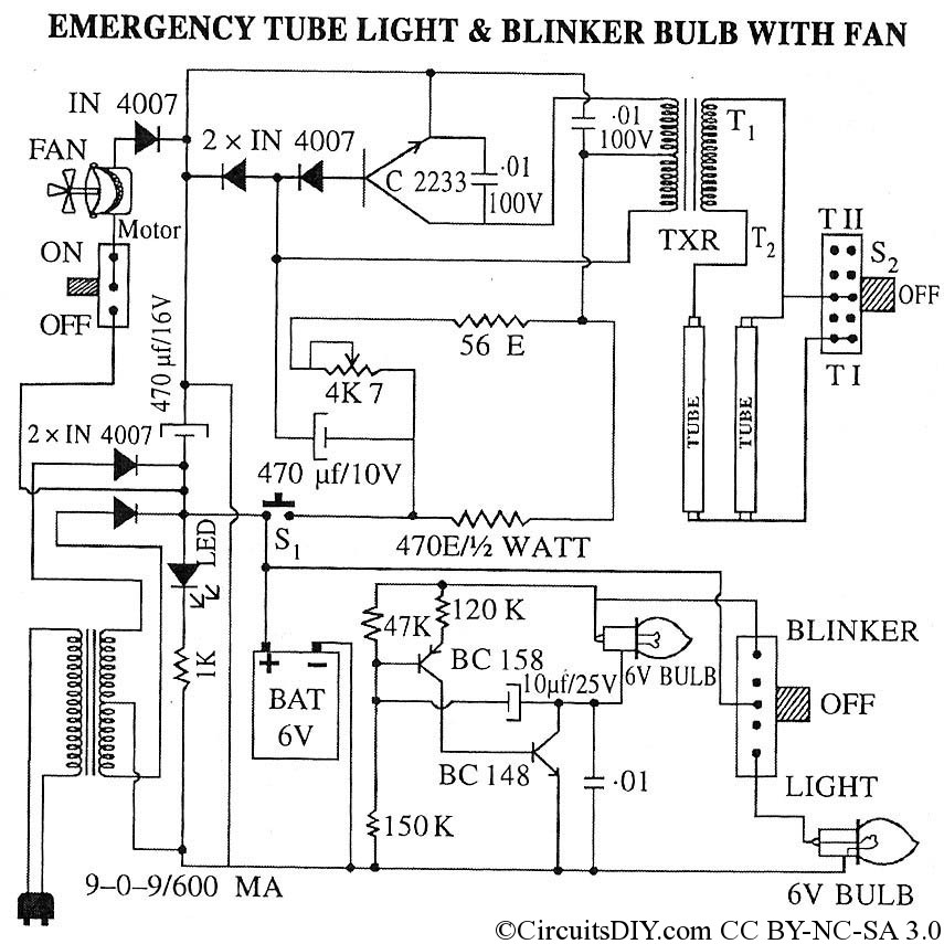 emergency tube light blinker bulb with fan circuits diy rh circuitsdiy com