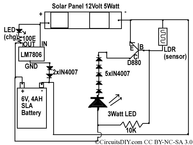 Solar to 6V Batt to LED emergency light circuit – Circuits DIY