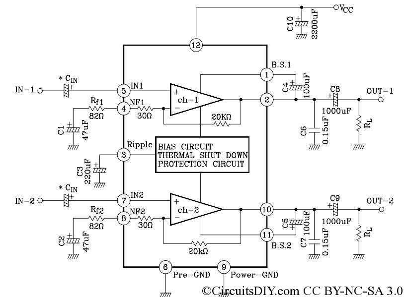 6283 audio amplifier mostly used in dvdfm circuits diy a circuit board made by this ic is shown below this is a very useful amplifier for use in stereo portable application and projects ccuart