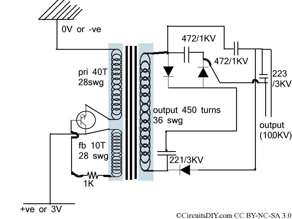 miniature electric fence circuit used in mosquito racket, Circuit diagram
