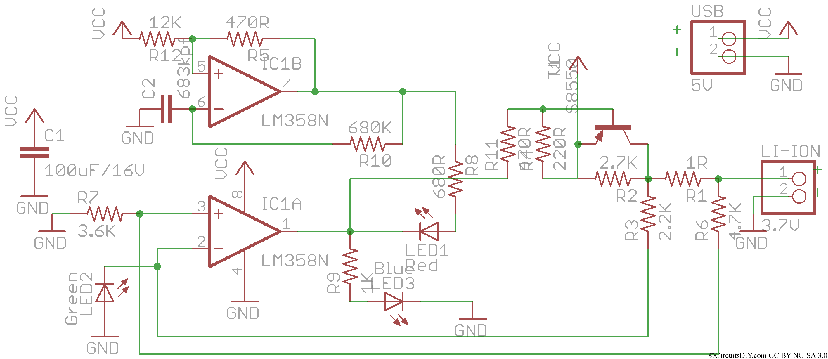Simple Lm358 Op Amp Based Usb Li Ion Charger Circuits Diy Cell Phone Circuit Further Diagram In This The Both Conditions Are Checked With 1r Resistor Which Is Series Battery