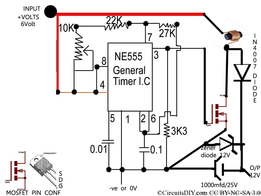 5v to 12v converter – Simple DC voltage booster circuit
