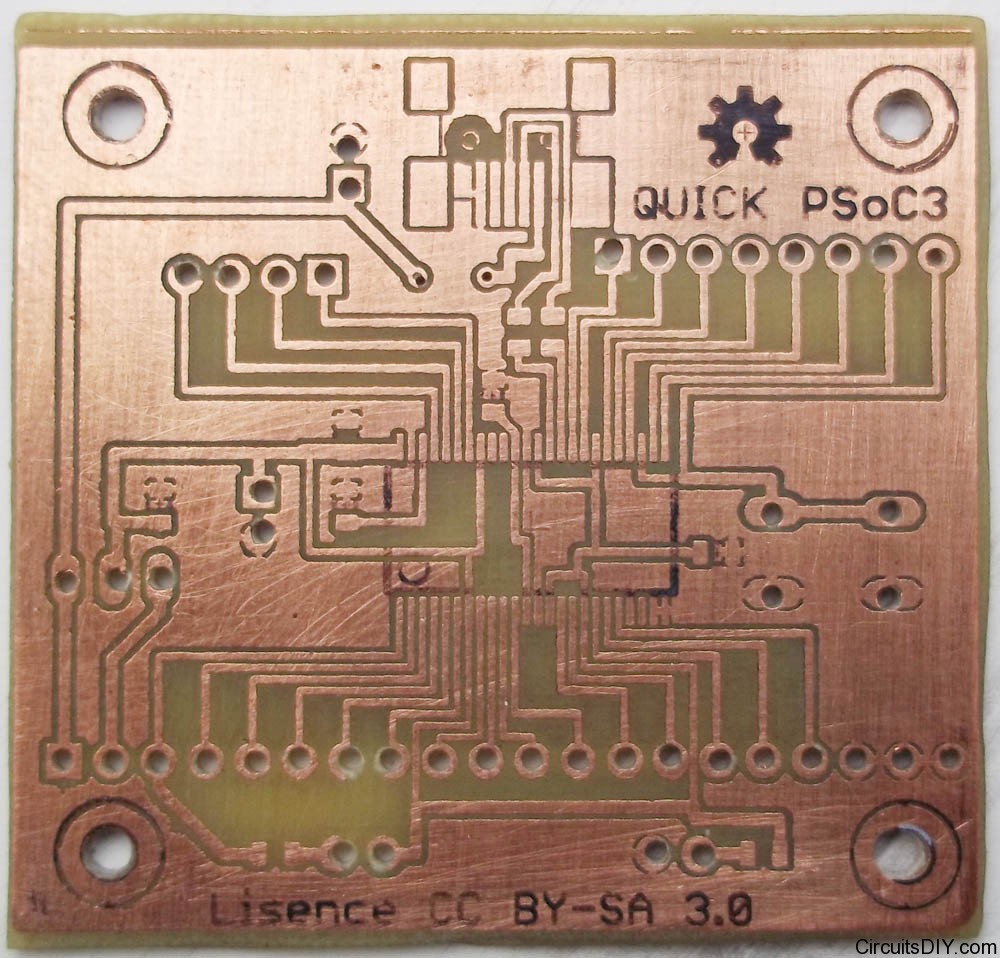 Making SMD PCBs at home: Quick PSoC3 board built