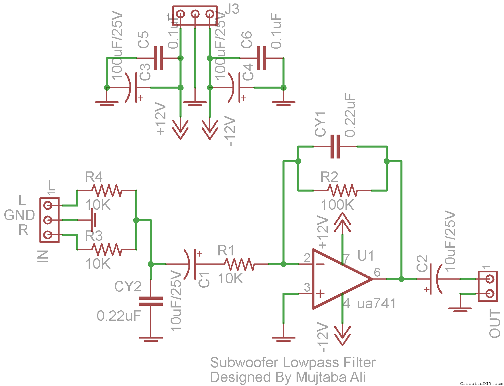 subwoofer lowpass filter circuit using ua741 single op amp ic 1 amp of circuit diagram low pass subwoofer circuit diagram