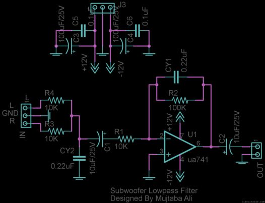 Subwoofer Lowpass Filter circuit using uA741 Single Op-Amp Ic
