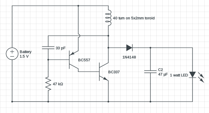 1 watt LED driver circuit 1.5V input, Modified Joule thief
