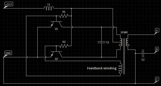 20 watt push-pull CFL inverter circuit