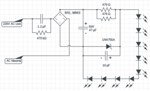 230V LED circuit diagram 3 Watt