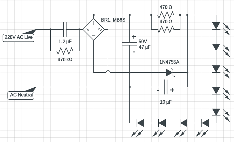 220V_LED_circuit_diagram_3_Watt 220v led circuit ac mains powered led driver circuits diy led drivers diagram at fashall.co