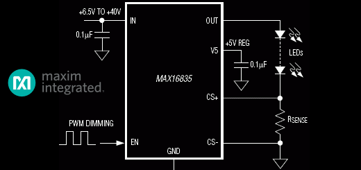 Reference Design – High power adjustable LED driver with MAX16835