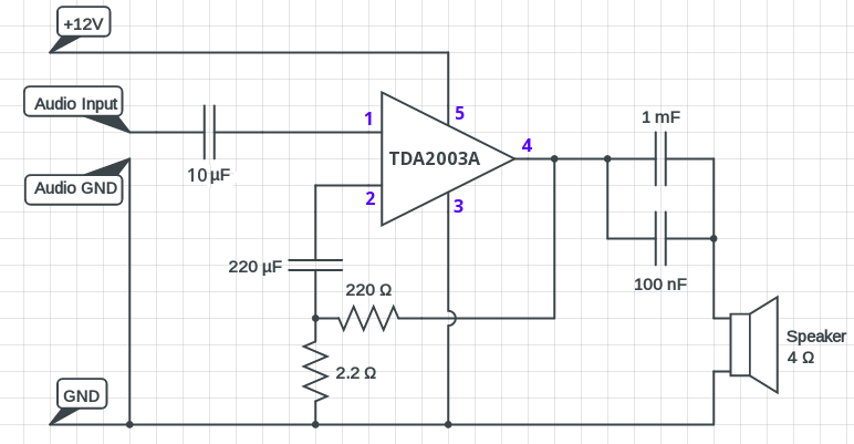 TDA2003_amplifier_circuit_diagram tda2003 amplifier circuit diagram 10 watt circuits diy amplifier schematic diagram at panicattacktreatment.co
