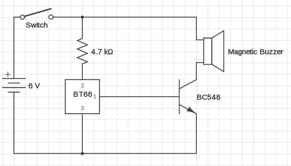 simple magnetic buzzer circuit with um66 ic  u2013 circuits diy
