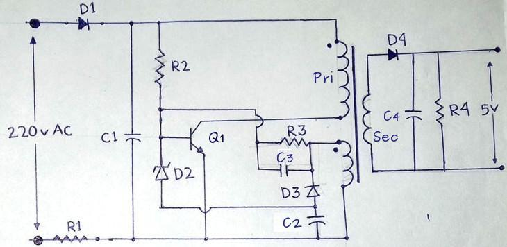 mobile charger circuit diagram 220v