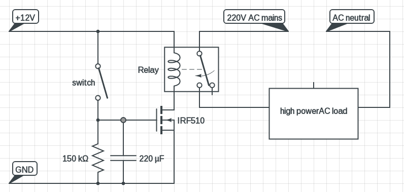 MOSFET based delay timer ciruit