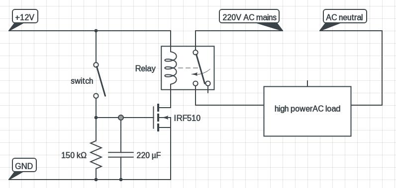 MOSFET based delay timer ciruit